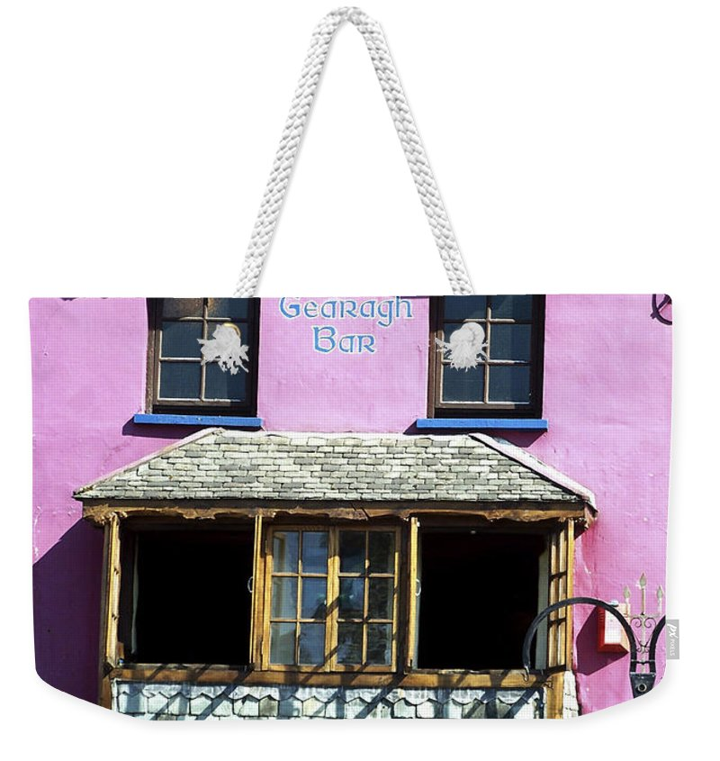 Irish Weekender Tote Bag featuring the photograph Gearagh Pub In Macroom Ireland by Teresa Mucha