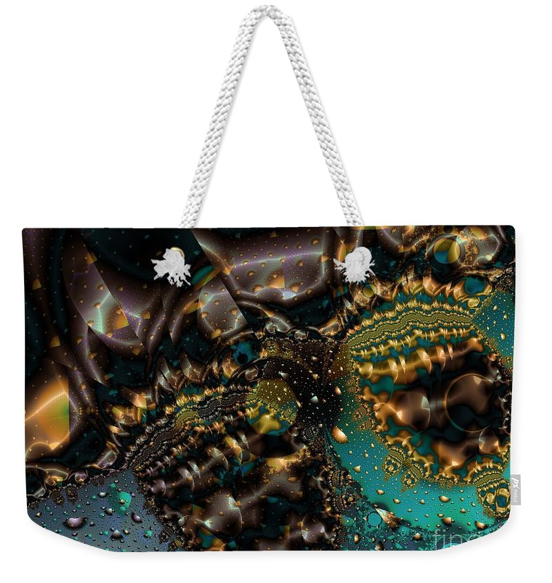 Fractal Art Weekender Tote Bag featuring the digital art Gears Of The Universe Two by Ron Bissett