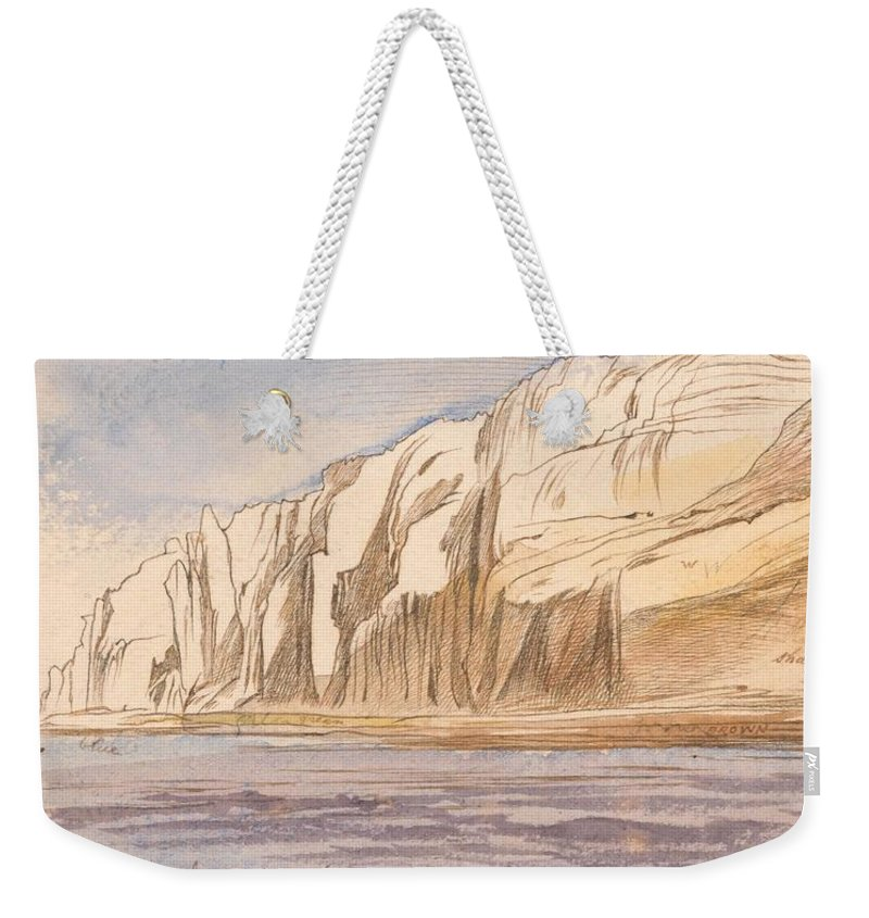 Nature Weekender Tote Bag featuring the painting Gebel Abu Fodde By Edward Lear 1867 by Edward Lear