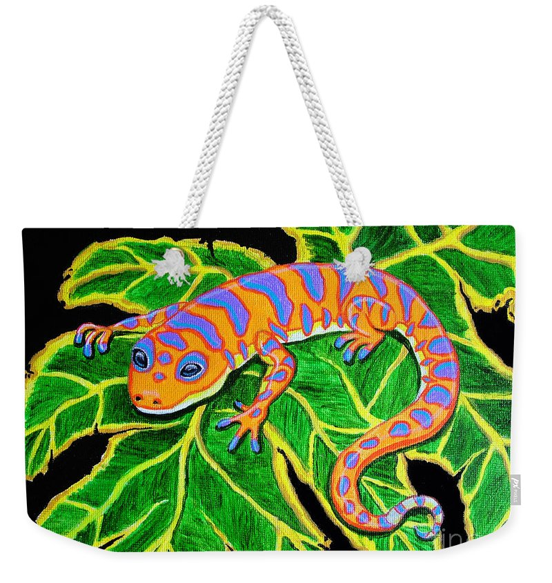 Gecko Weekender Tote Bag featuring the painting Gecko Hanging On by Nick Gustafson