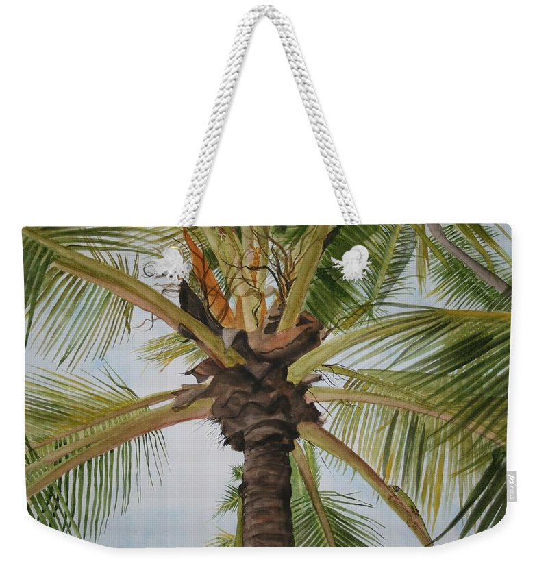 Palm Tree Weekender Tote Bag featuring the painting Gecko Heaven by Jean Blackmer