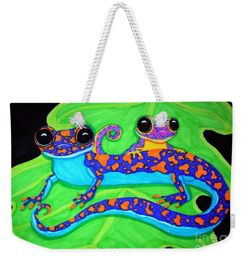 Geckos Weekender Tote Bag featuring the drawing Geckos by Nick Gustafson