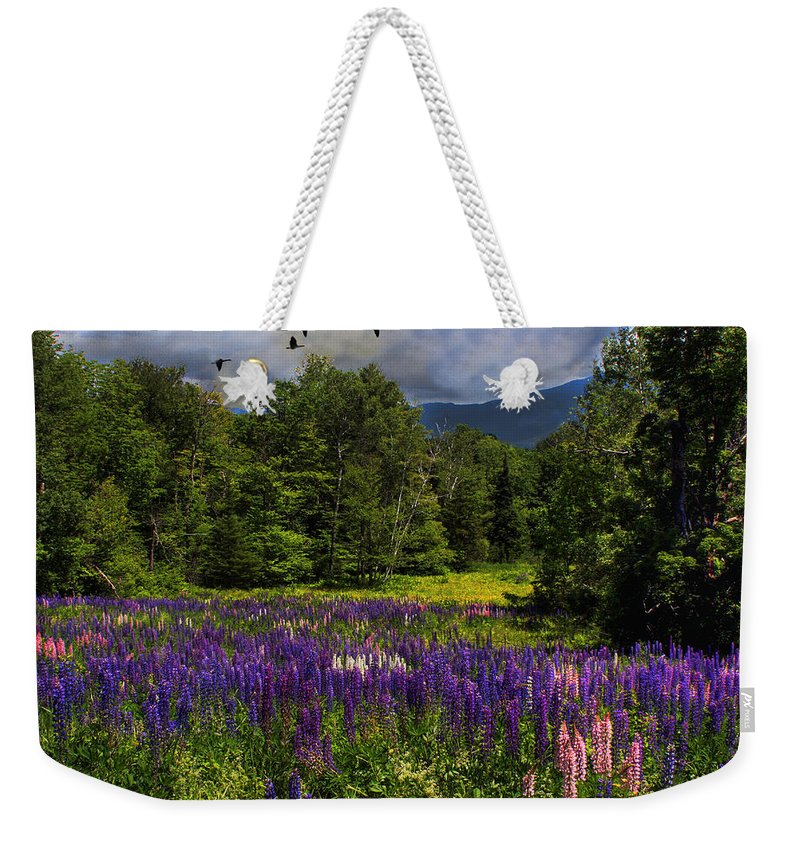 Lupine Weekender Tote Bag featuring the photograph Geese Over Lupine Field by Wayne King