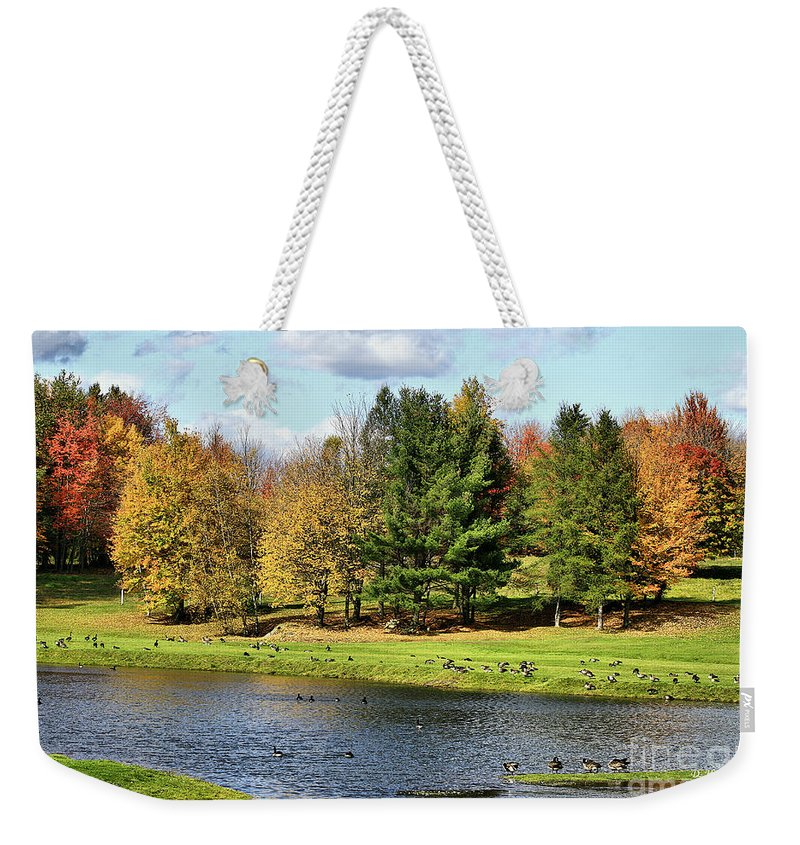 Fall Weekender Tote Bag featuring the photograph Geese Sanctuary by Deborah Benoit