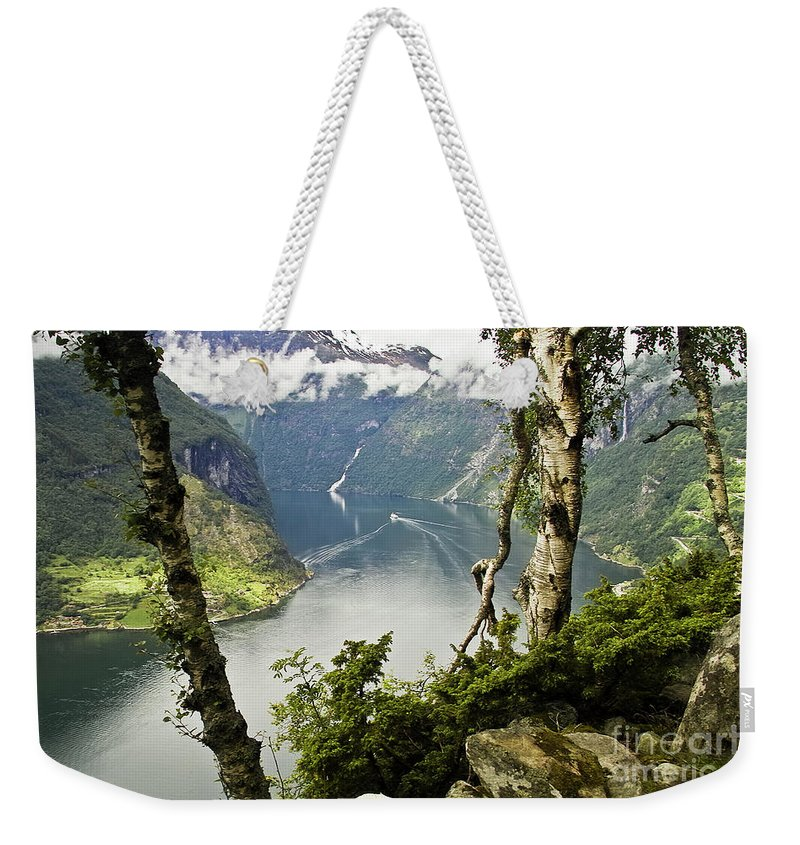 Europe Weekender Tote Bag featuring the photograph Geiranger Fjord by Heiko Koehrer-Wagner