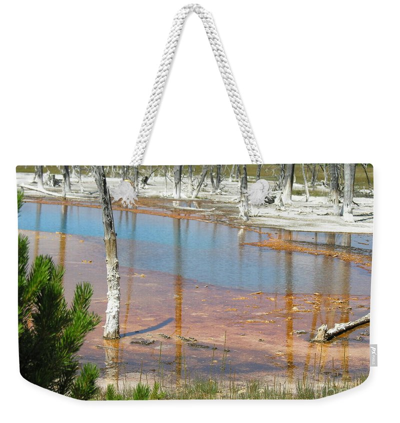 Griser Weekender Tote Bag featuring the photograph Geisers by Diane Greco-Lesser