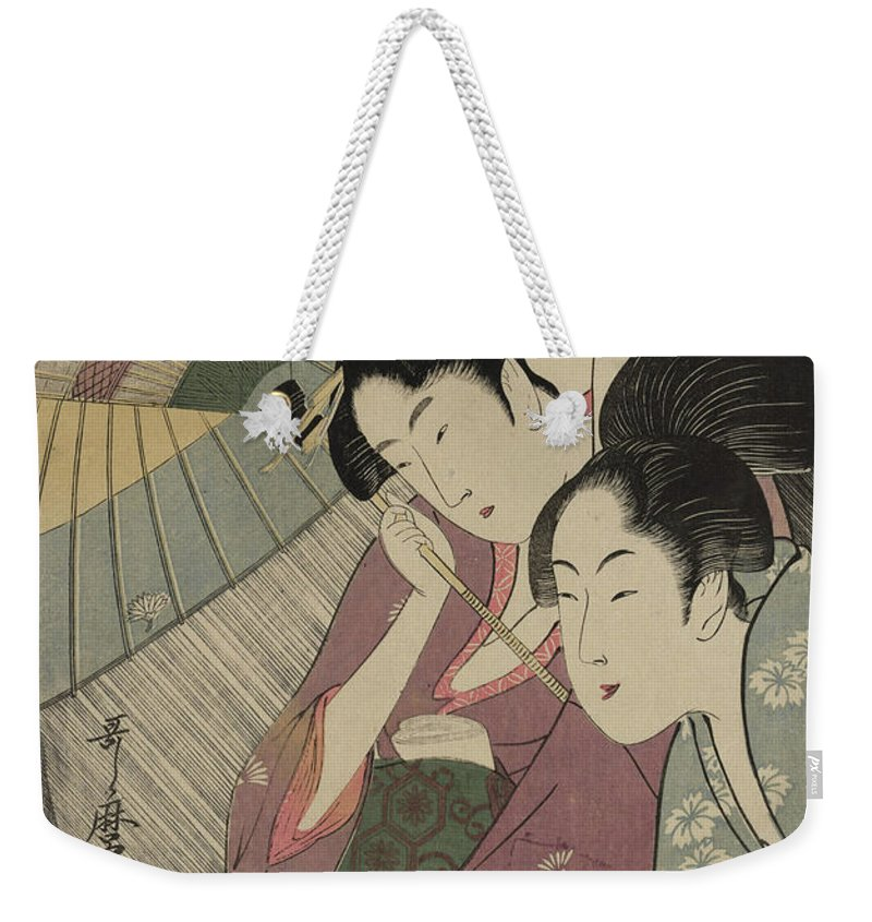 Oban Weekender Tote Bag featuring the painting Geisha And Attendant On A Rainy Night by Kitagawa Utamaro