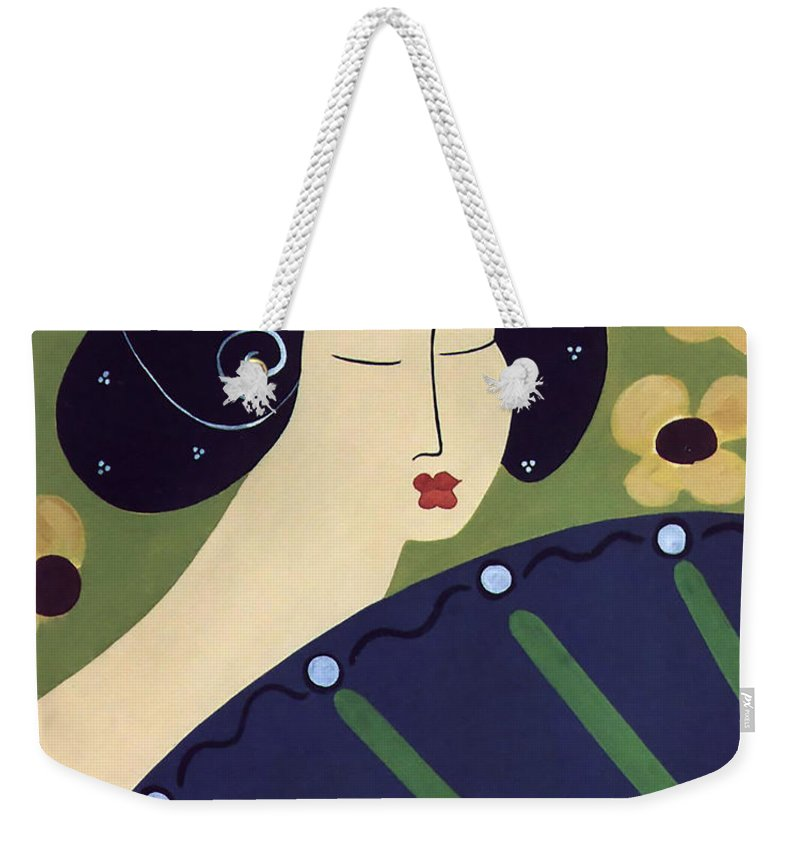 #japanese Weekender Tote Bag featuring the painting Geisha Doll by Jacquelinemari