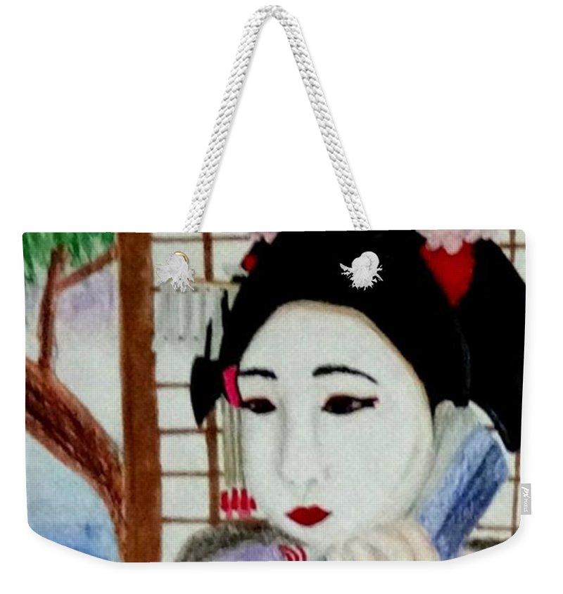 Geisha Weekender Tote Bag featuring the drawing Geisha Girl by Jocelyn Eastman