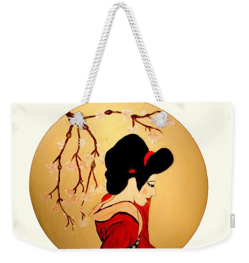 Geisha Girls Weekender Tote Bag featuring the painting Geisha Girl by Rusty Gladdish