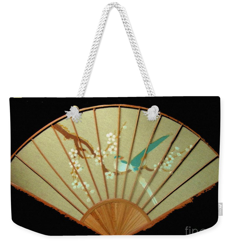 Japanese Weekender Tote Bag featuring the digital art Geisha Sunrise by Dorlea Ho