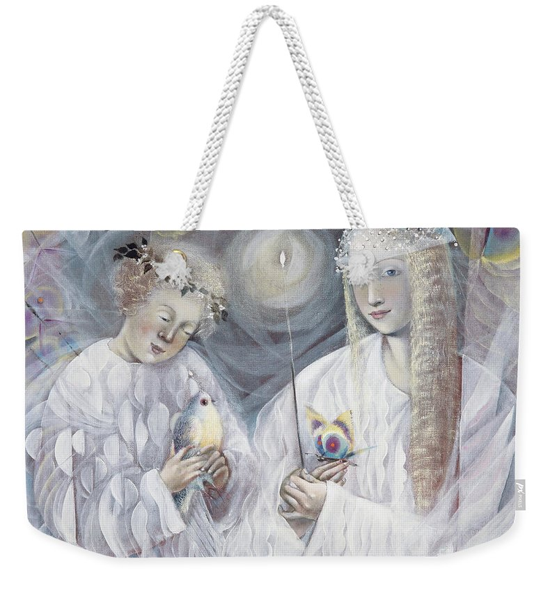 Gemini Weekender Tote Bag featuring the painting Gemini by Annael Anelia Pavlova