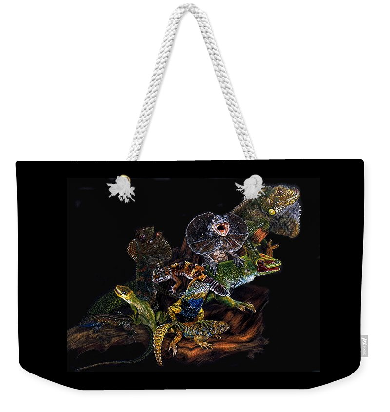 Lizards Weekender Tote Bag featuring the drawing Gems And Jewels by Barbara Keith
