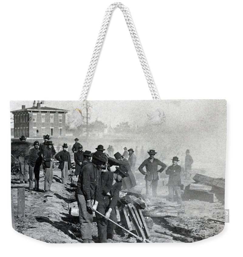 civil War Weekender Tote Bag featuring the photograph Gen Shermans Troops Destroying Railroad Before The Evacuation Of Atlanta - C 1864 by International Images
