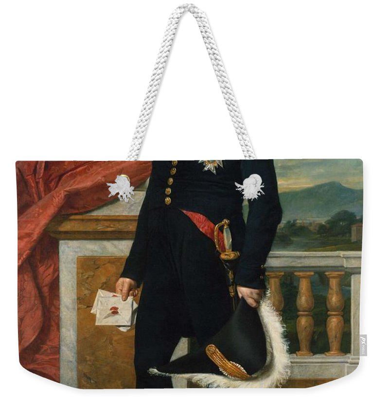 Man Weekender Tote Bag featuring the painting General Etienne Maurice Gerard Jacques Louis David 1816 by General Etienne Maurice Gerard Jacques Louis David