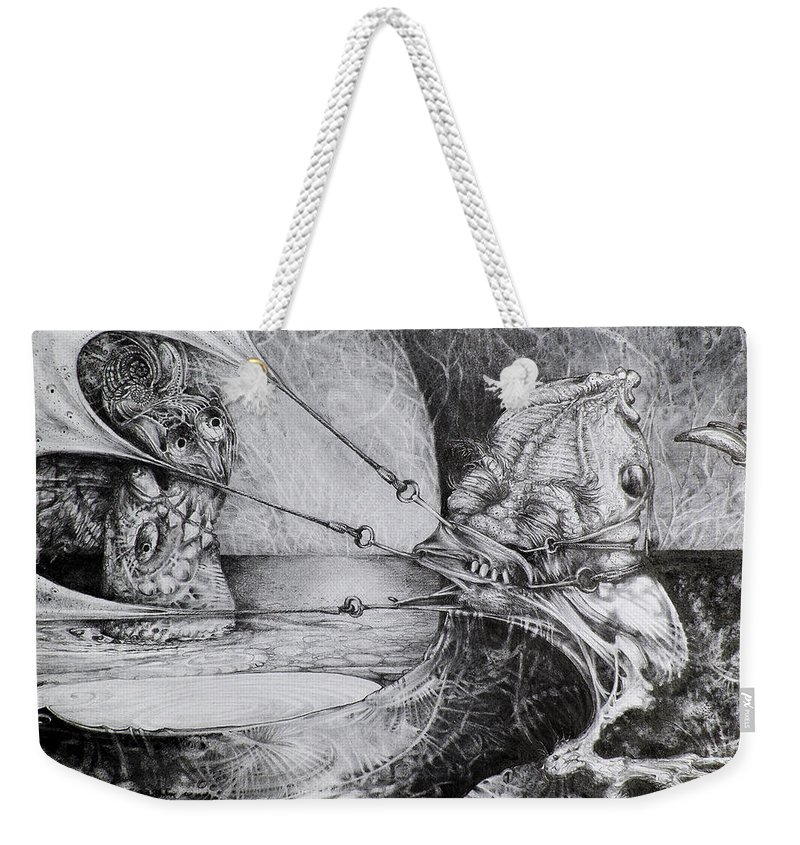 Surrealism Weekender Tote Bag featuring the drawing General Peckerwood In Purgatory by Otto Rapp