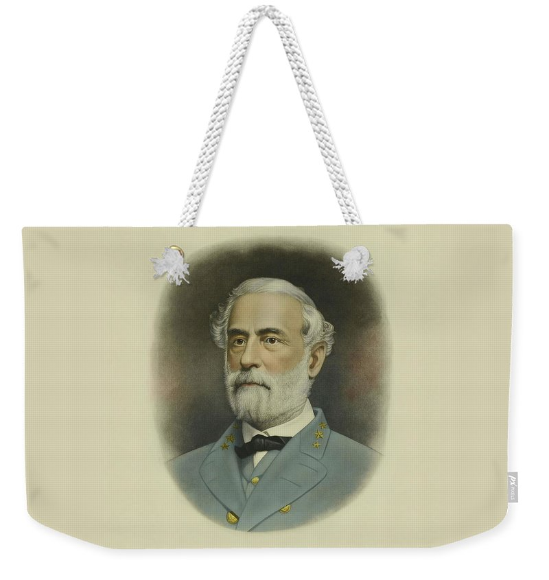General Lee Weekender Tote Bag featuring the painting General Robert E. Lee Color Portrait by War Is Hell Store