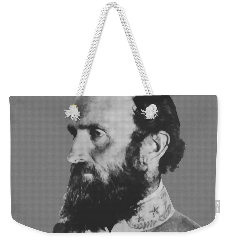 Stonewall Jackson Weekender Tote Bag featuring the painting General Stonewall Jackson Profile by War Is Hell Store