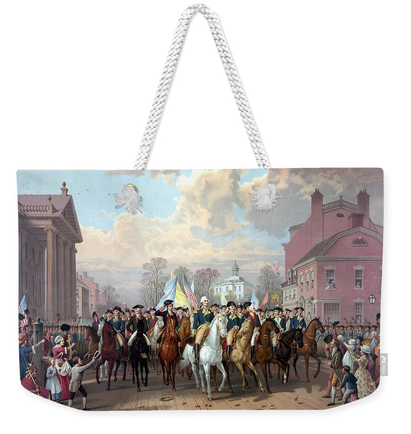 George Washington Weekender Tote Bag featuring the painting General Washington Enters New York by War Is Hell Store