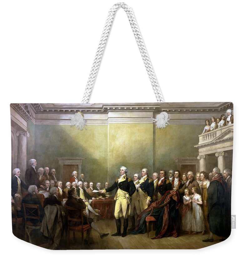 George Washington Weekender Tote Bag featuring the painting General Washington Resigning His Commission by War Is Hell Store