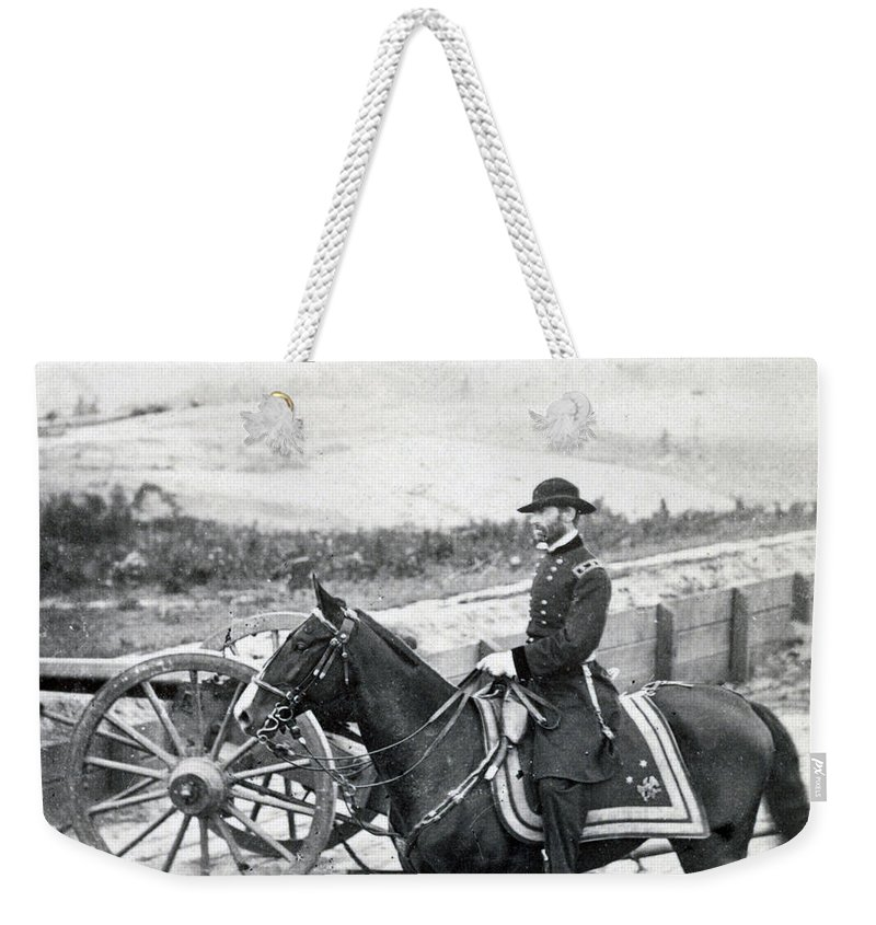 civil War Weekender Tote Bag featuring the photograph General William T Sherman On Horseback - C 1864 by International Images