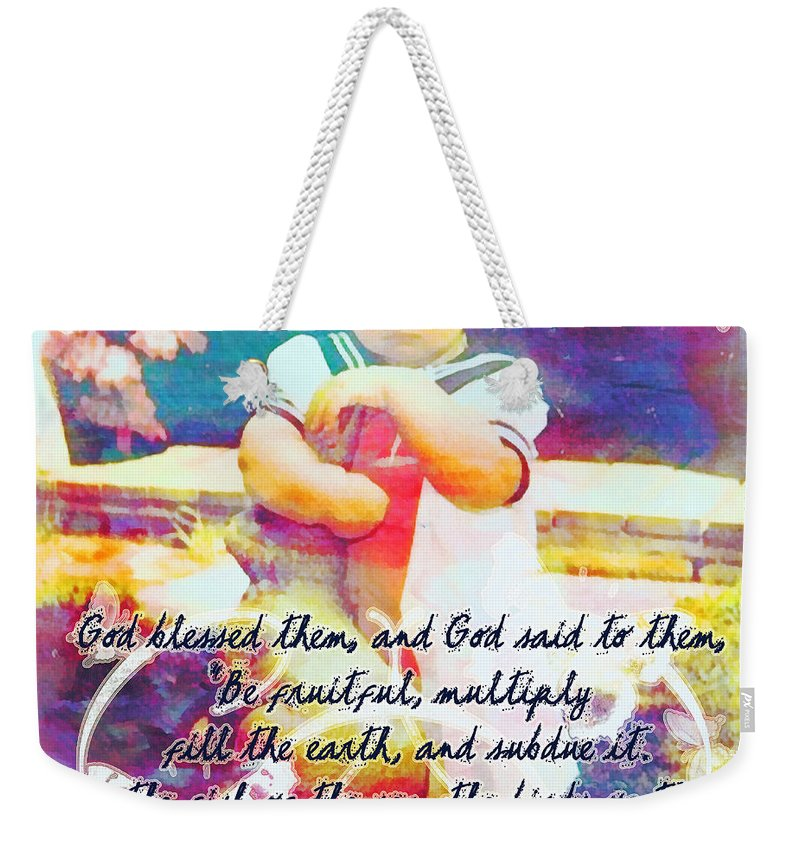 Jesus Weekender Tote Bag featuring the digital art Genesis 1 28 by Michelle Greene Wheeler