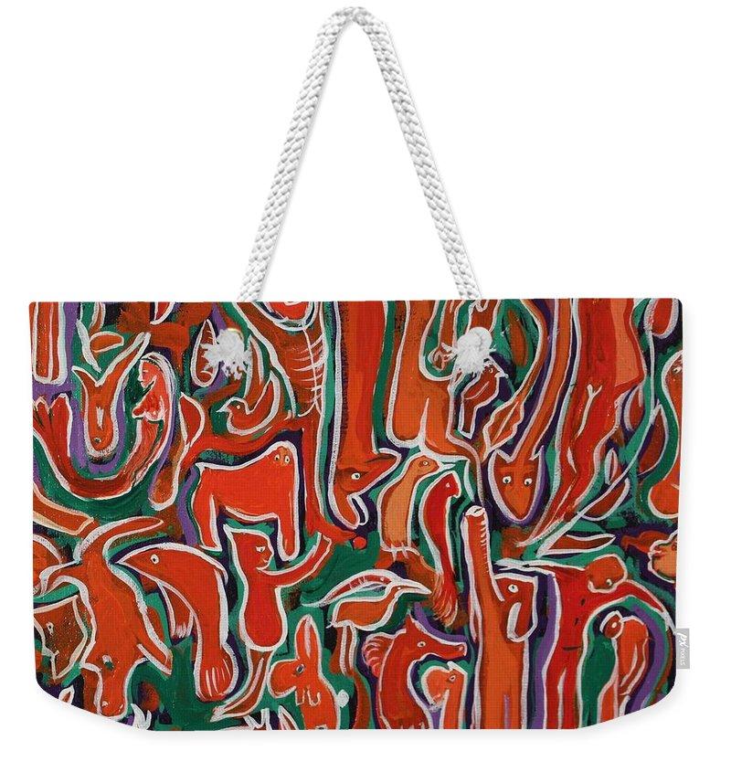 Animals Weekender Tote Bag featuring the painting Genesis by Rollin Kocsis