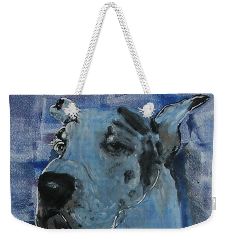 Great Dane Weekender Tote Bag featuring the mixed media Gentle Giant by Cori Solomon