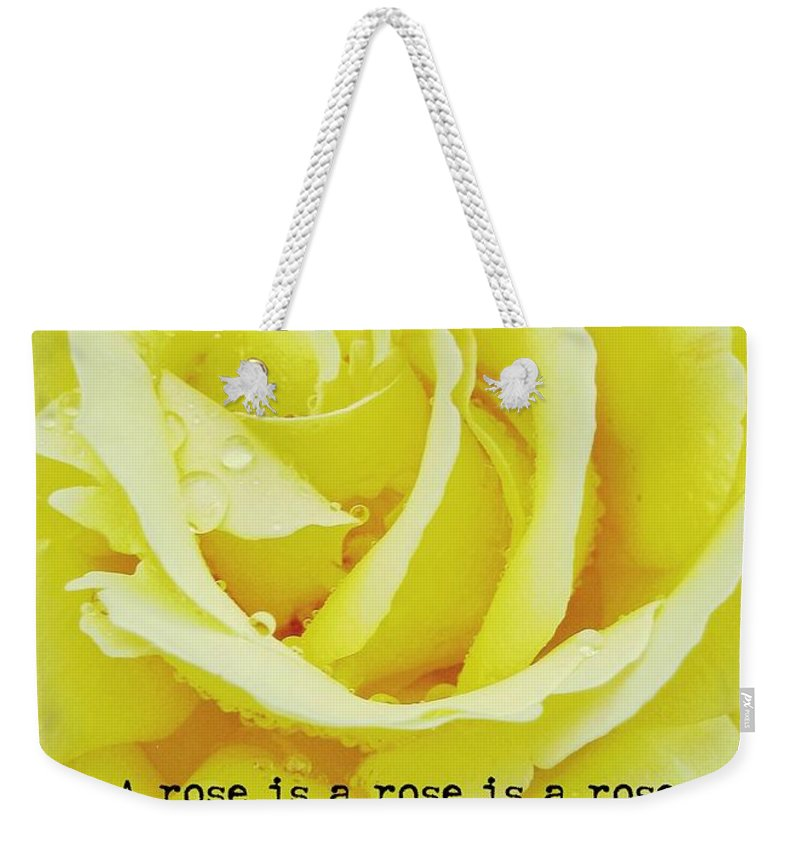Rose Weekender Tote Bag featuring the photograph Gentle Gold Quote by JAMART Photography