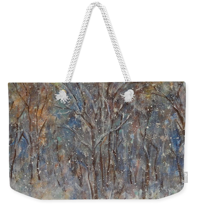Art Around The World Project Weekender Tote Bag featuring the painting Gentle Snow by Natalie Holland