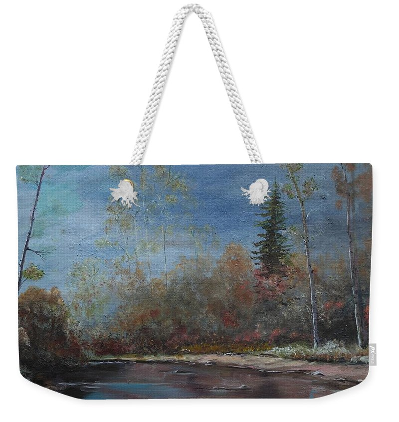 River Weekender Tote Bag featuring the painting Gentle Stream - Lmj by Ruth Kamenev
