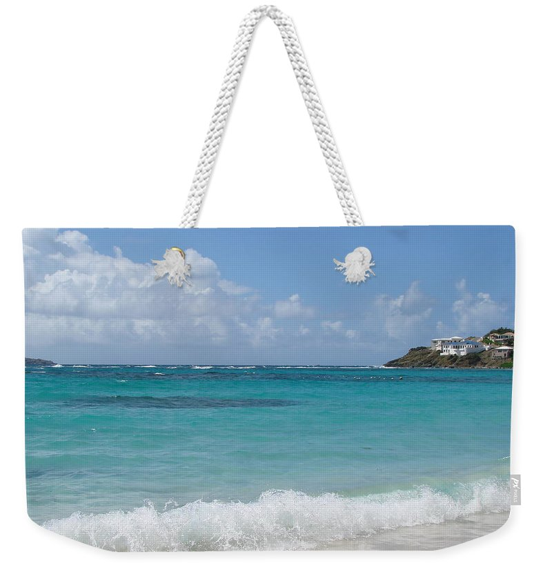 Dawn Beach St. Maarten Weekender Tote Bag featuring the photograph Gentle Wave On Dawn Beach by Margaret Bobb