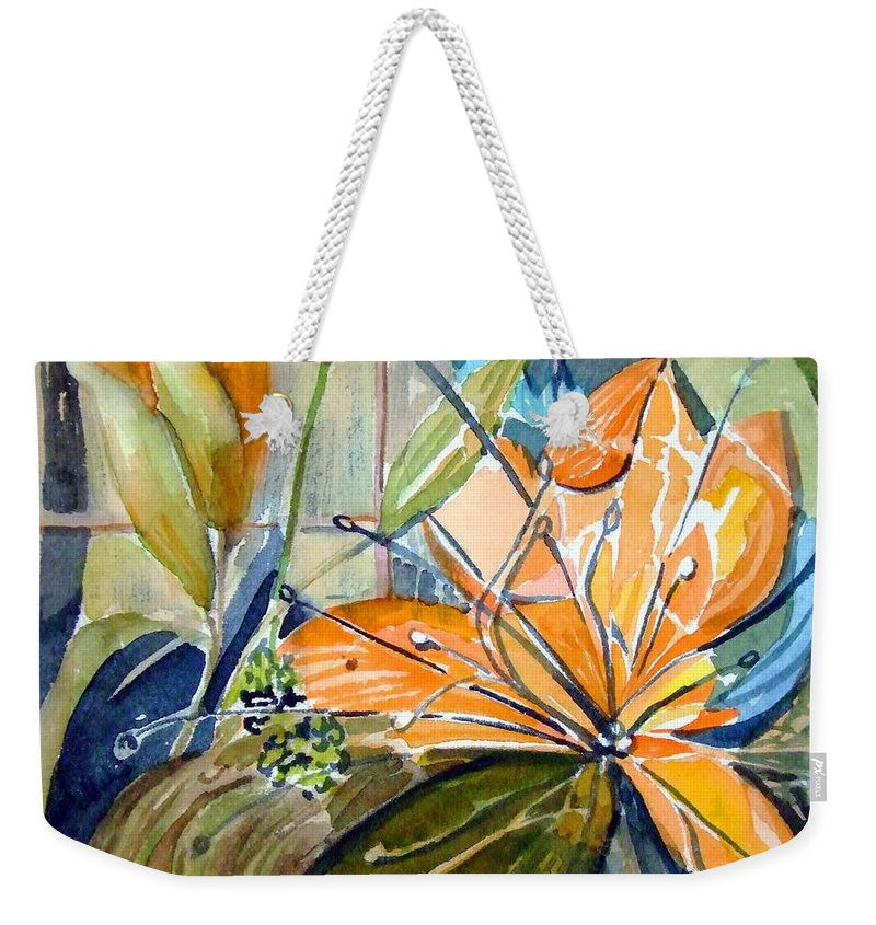 Lilies Weekender Tote Bag featuring the painting Geo Day Lilies by Mindy Newman