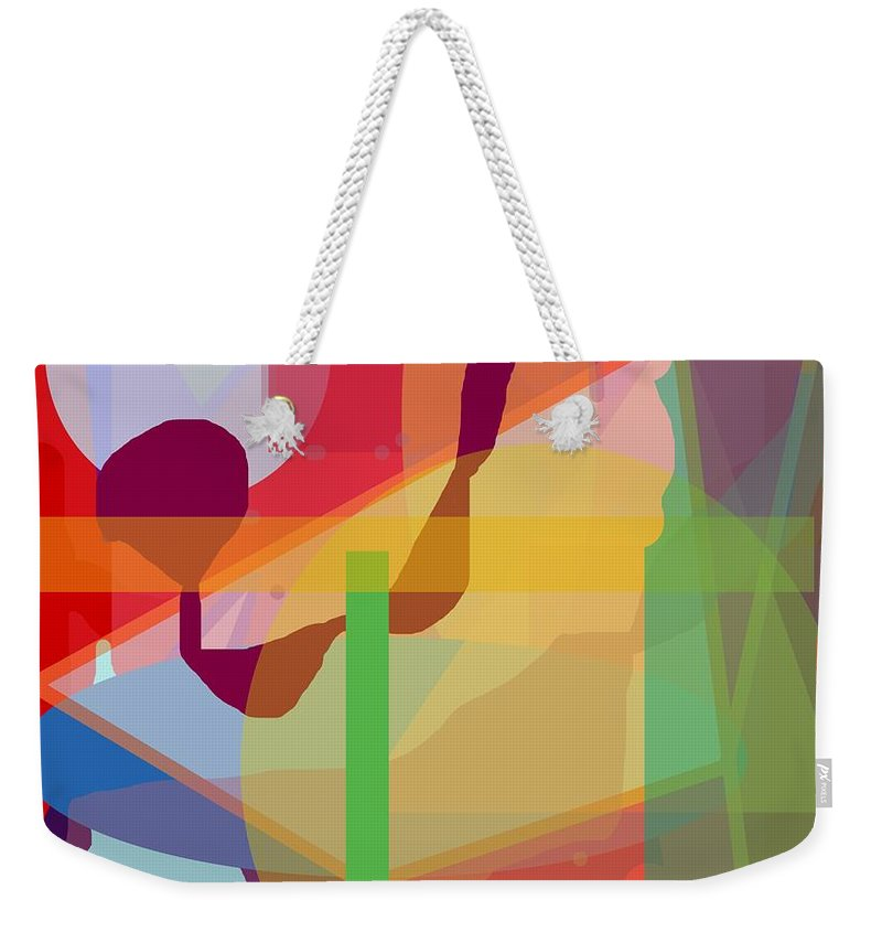 Abstract Weekender Tote Bag featuring the painting Geo Frenzy by Pharris Art