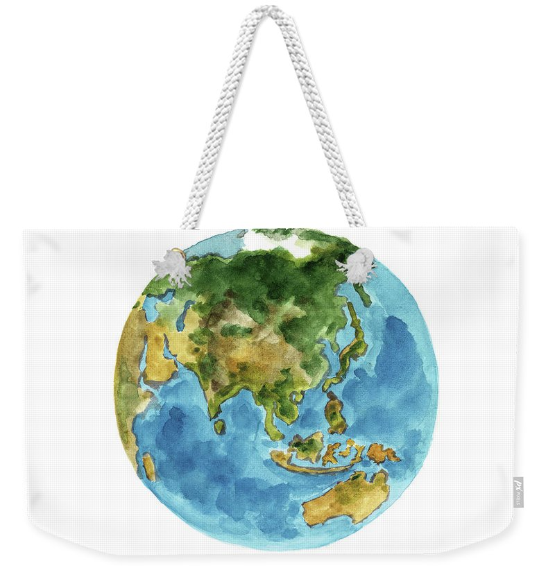 Planet earth colors geography world map australia new zealand painting weekender tote bag featuring the painting planet earth colors geography world map australia gumiabroncs Gallery