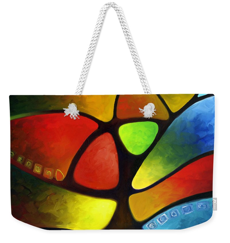 Tree Weekender Tote Bag featuring the painting Geometree by Sally Trace