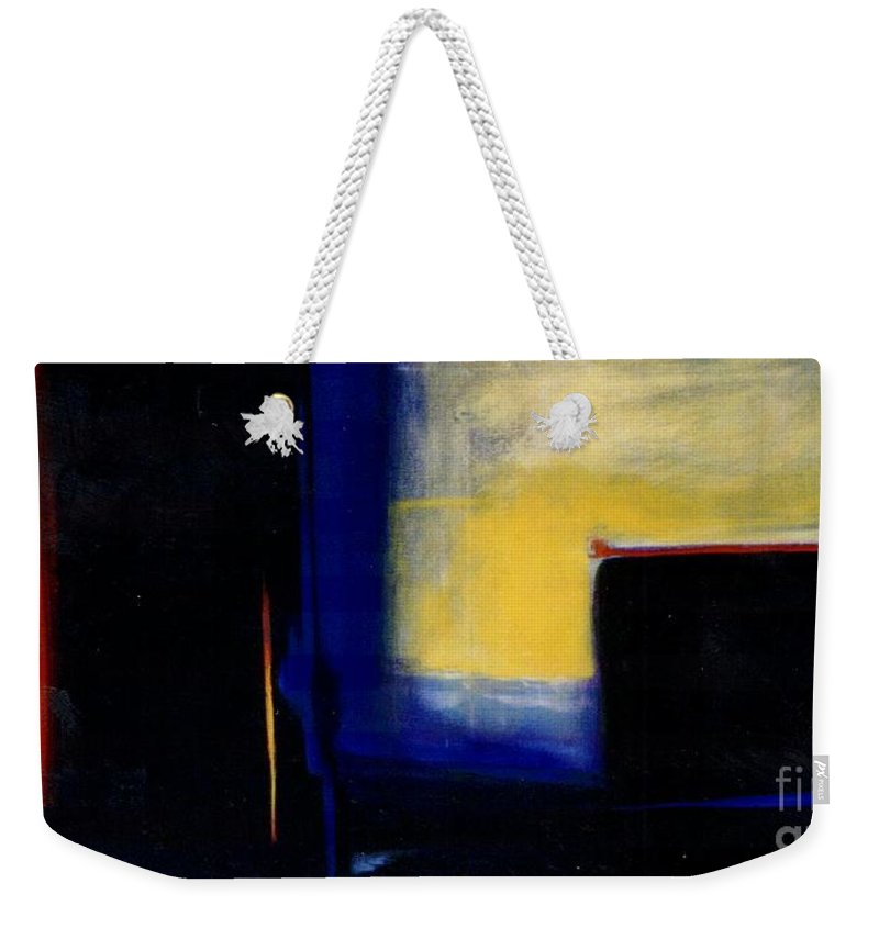Abstract Weekender Tote Bag featuring the painting Geometric 2 by Marlene Burns