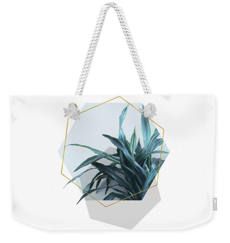 Geometric Weekender Tote Bag featuring the mixed media Geometric Jungle by Emanuela Carratoni