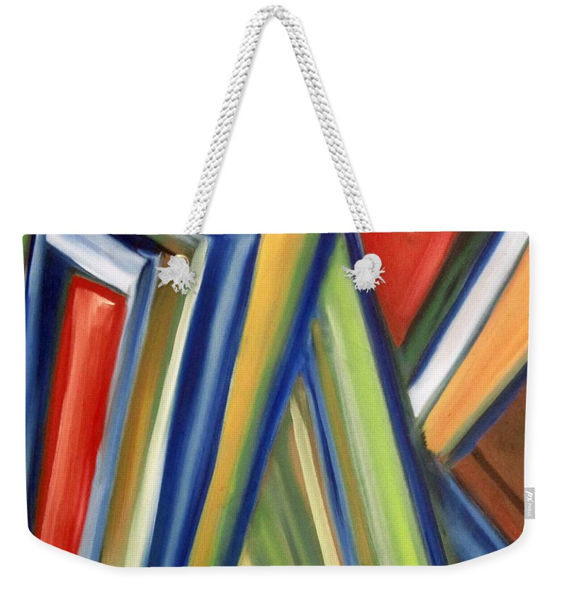 Rectangles Weekender Tote Bag featuring the painting Geometric Tension Series V by Patricia Cleasby