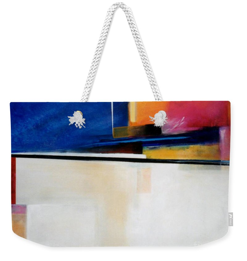 Abstract Weekender Tote Bag featuring the painting Geometrics 4 Lights Out by Marlene Burns