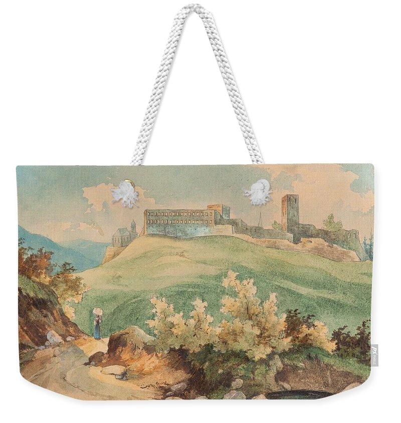 Nature Weekender Tote Bag featuring the painting Georg Geyer 1823  Wien  1912  Burg Brandzoll In Tirol by Georg Geyer