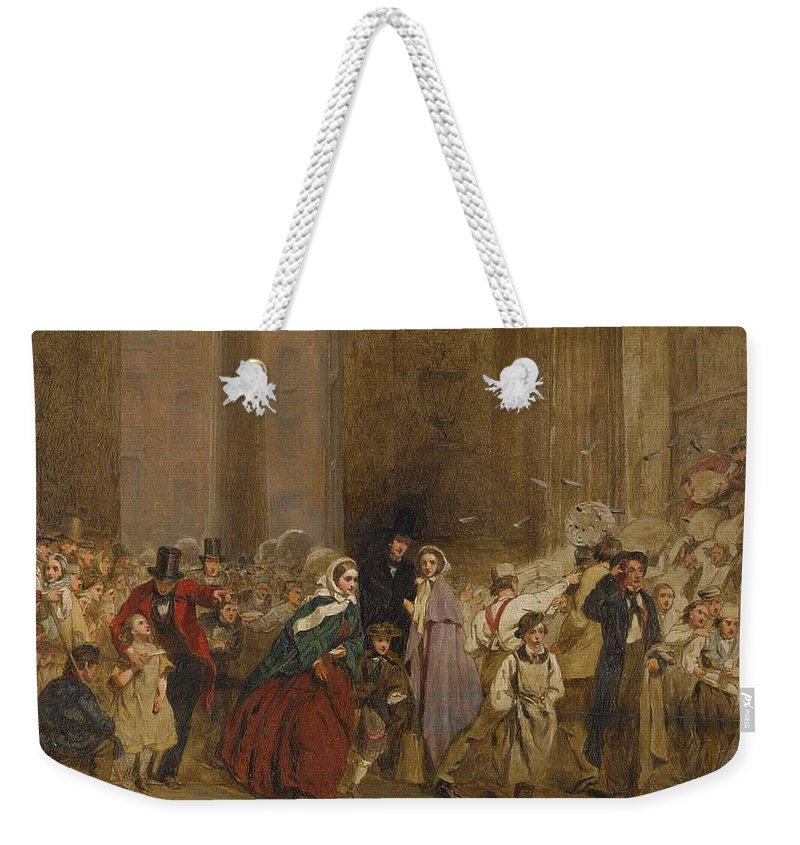 Man Weekender Tote Bag featuring the painting George Elgar Hicks  Sketch Of The General Post Office One Minute To Six 1860 by George Elgar Hicks