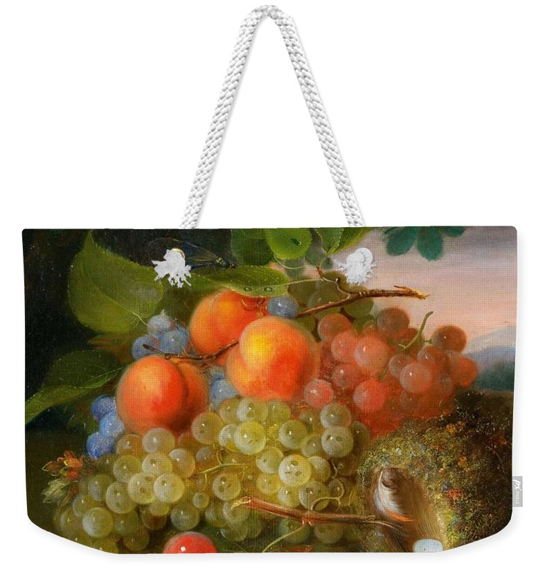 Art Weekender Tote Bag featuring the painting George Forster Still Life With Fruit And A Birds Nest by George Forster