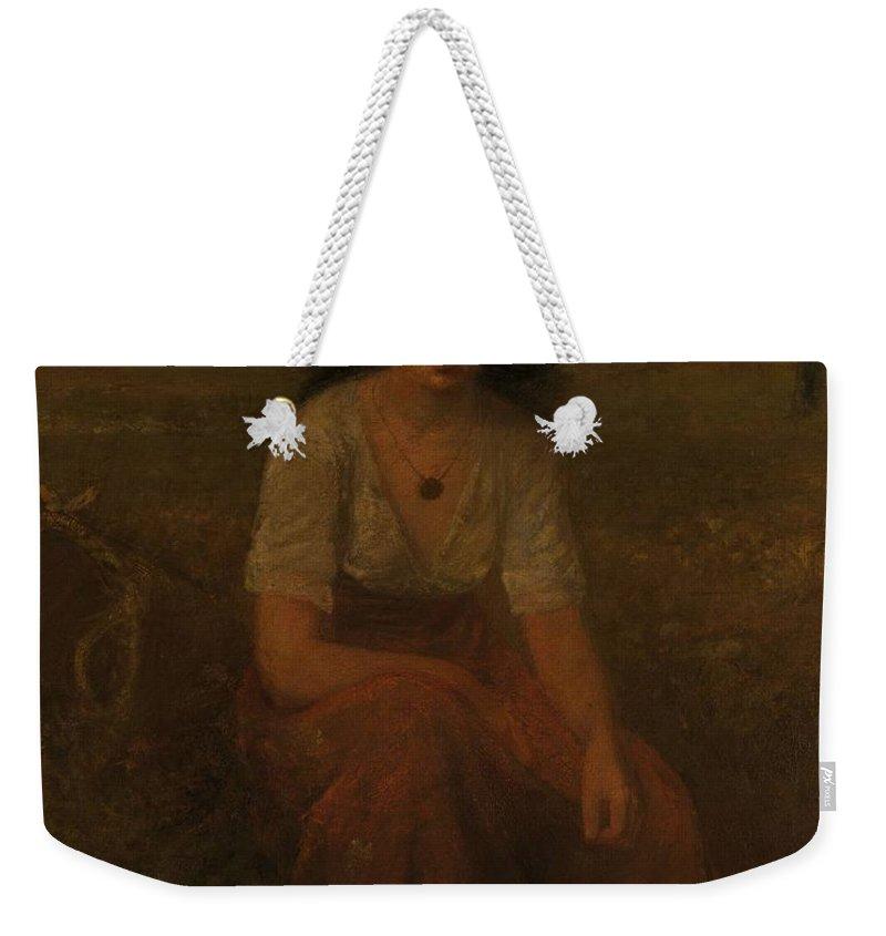 Girl Weekender Tote Bag featuring the painting George Fuller  Farmer Girl by George Fuller
