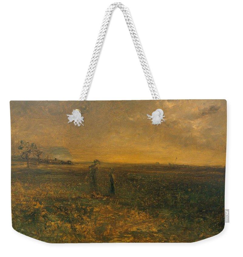 Nature Weekender Tote Bag featuring the painting George Fuller  Twilight On The Prairie by George Fuller