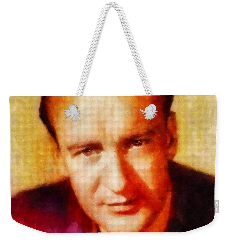 Hollywood Weekender Tote Bag featuring the painting George Sanders, Vintage Hollywood Actor by Sarah Kirk
