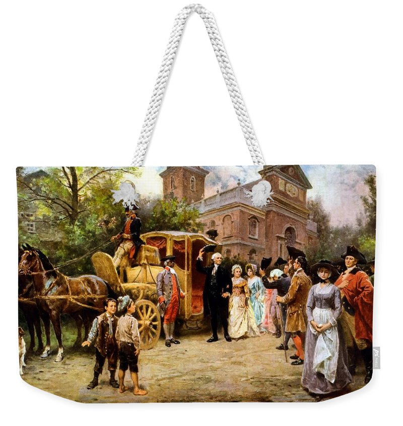 George Washington Weekender Tote Bag featuring the painting George Washington Arriving At Christ Church by War Is Hell Store