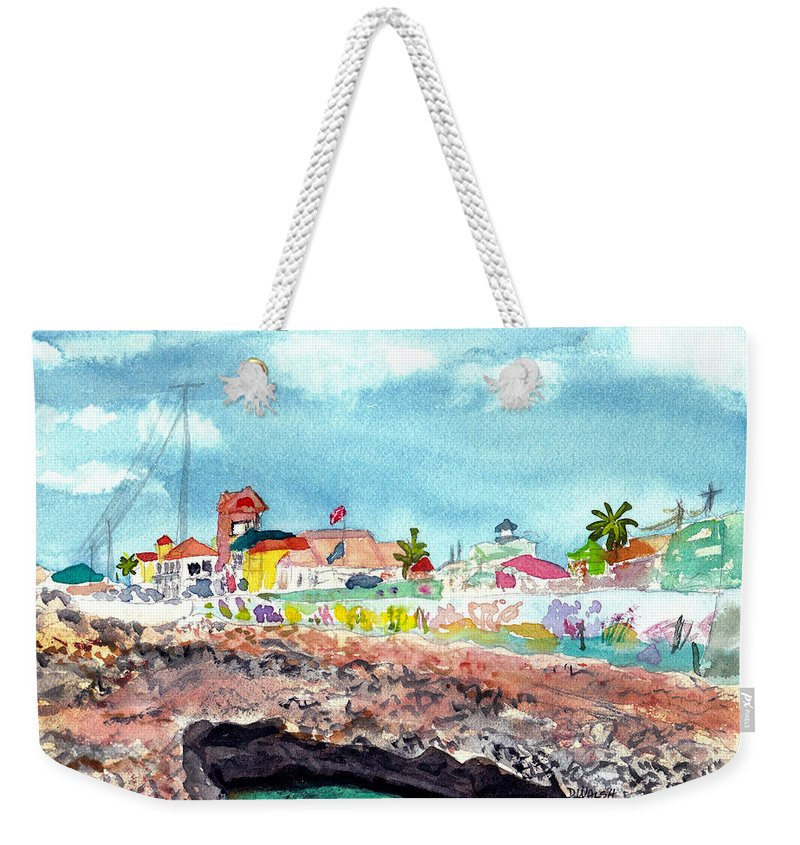 Tropical Weekender Tote Bag featuring the painting Georgetown Cayman Islands by Donna Walsh