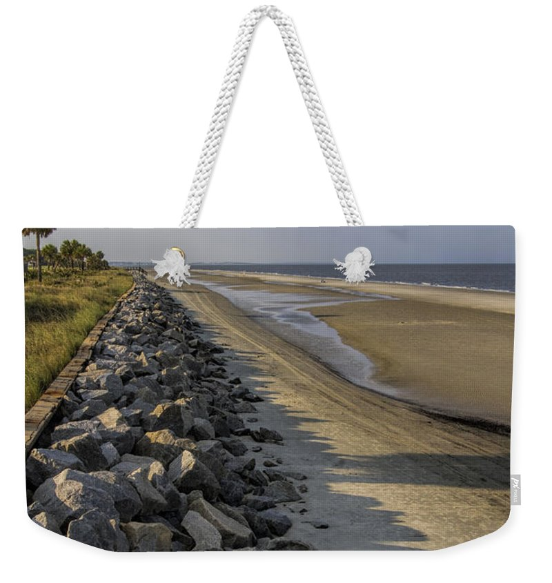 Barrier Weekender Tote Bag featuring the photograph Georgia Atlantic Sea Barrier by Kathy Clark