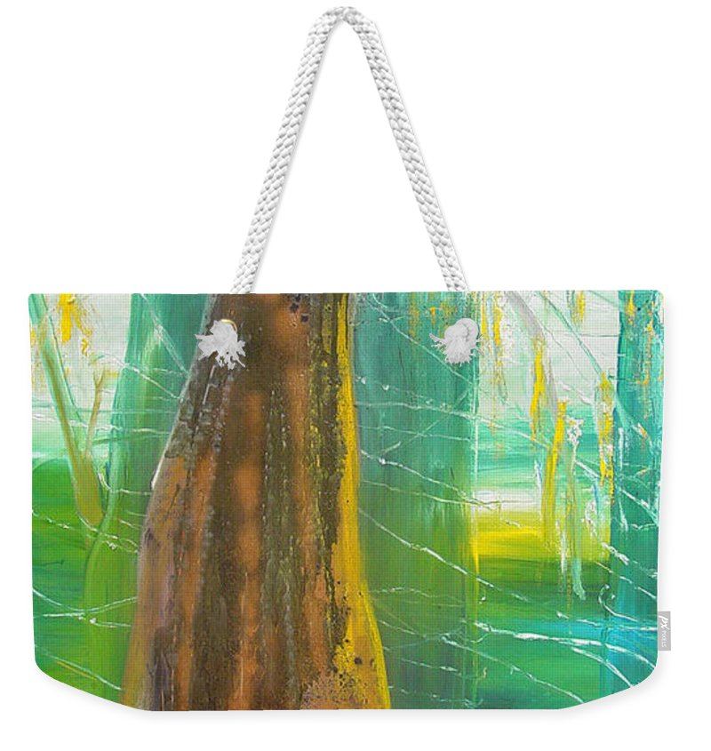 Landscape Weekender Tote Bag featuring the painting Georgia Morning by Peggy Blood